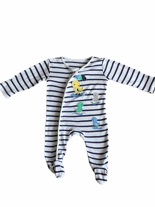 Nutmeg 3-6 months Navy and White Striped Duck Sleepsuit