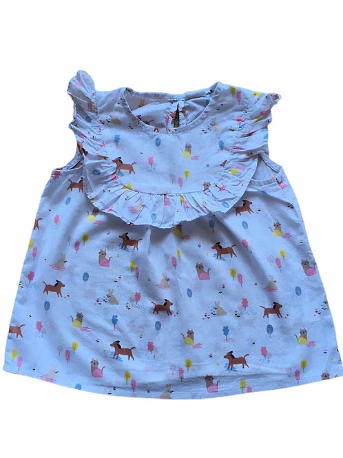 H&M 12-18 months White Cat, Dog and Rabbit Top