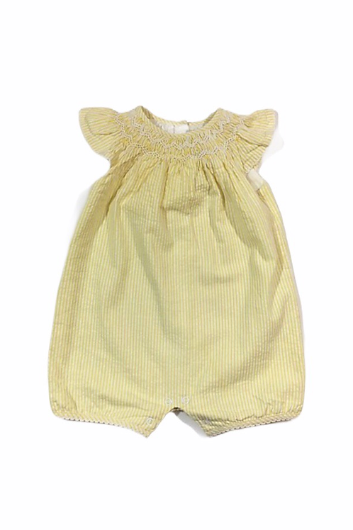 John Lewis Heirloom Collection 3-6 months Yellow and White Striped Romper
