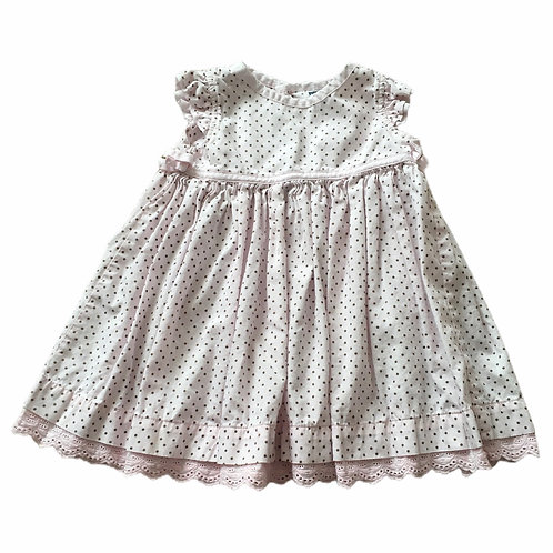 M&Co. 6-9 months Baby Pink and Brown Polka Dot Dress