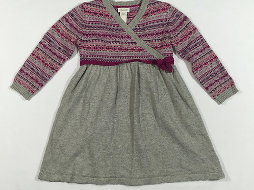 Monsoon 18-24 months Pink, Purple and Grey Long Sleeve Knitted Dress