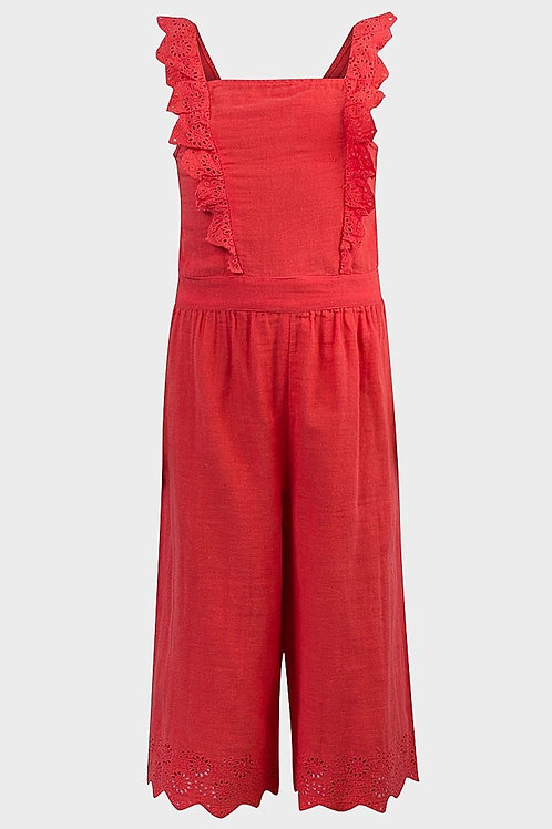 Ex Chainstore 7-8 years Coral Crop Jumpsuit - BRAND NEW