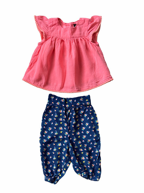 Very 3-6 months Top and Floral Trouser Set