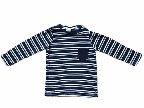 H&M 12-18 months Navy and White Striped Long Sleeve Top