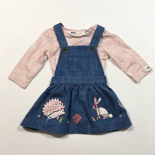 Mantaray 3-6 months Denim Dress with Long Sleeve Top