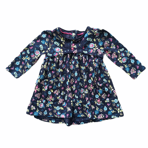 F&F 3-6 months Navy Floral Long Sleeve Dress