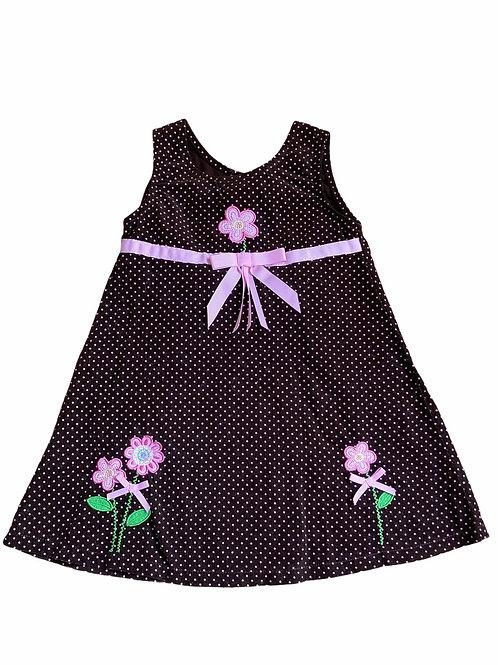 Blueberi Boulevard 4 years Brown and Pink Polka Dot Cord Dress