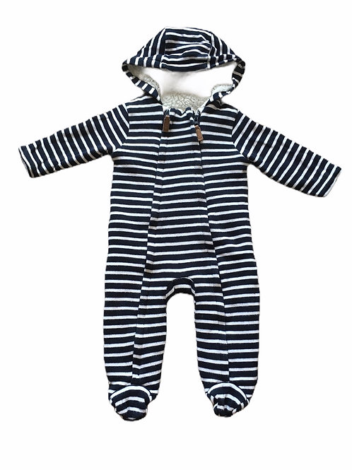 Junior J 6-9 months Navy and White Pramsuit (small tear in lining - see photo)
