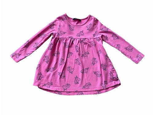 George 4-5 years Pink Unicorn Long Sleeve Dress