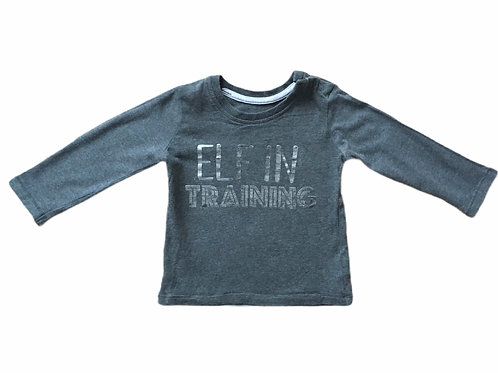 George 6-9 months Grey 'Elf in Training' Long Sleeve Top