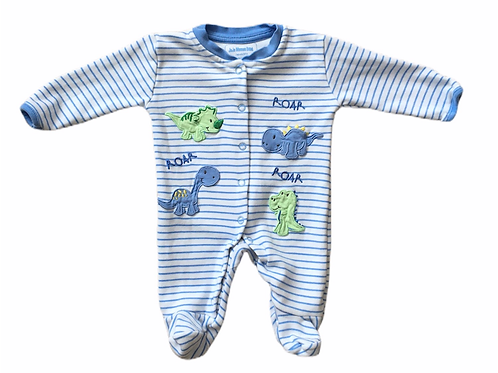 JoJo Maman Bebe Newborn Dinosaur Sleepsuit (Faint stain on top popper-see photo)