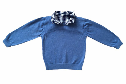 Matalan 12-18 months Blue Jumper with Faux Shirt Collar
