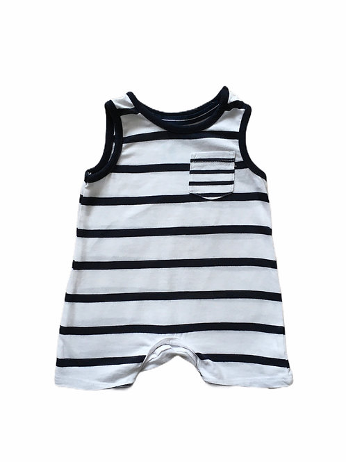 F&F Up to 3 months Navy and White Striped Romper