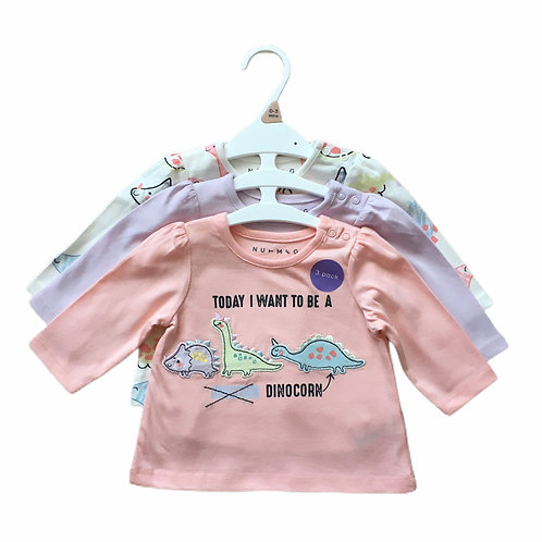 Ex Chain Store 3-6 months Set of 3 Long Sleeve Dinosaur Tops - BRAND NEW