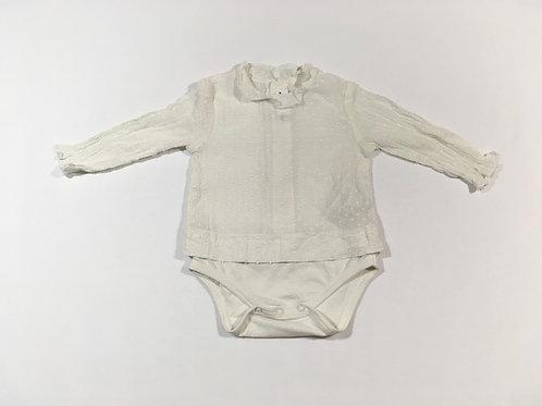 Zara 3-6 months Cream Textured Shirt Long Sleeve Bodysuit