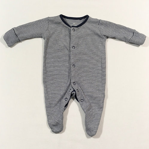 Next First Size Navy and White Striped Sleepsuit