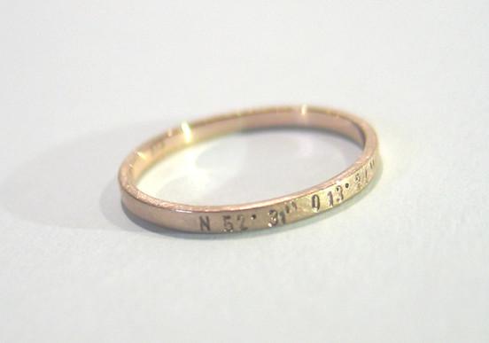 Roségold Ring mit Koordinaten