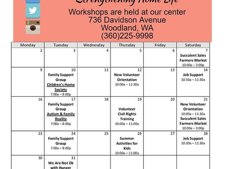 May Workshop Calendar