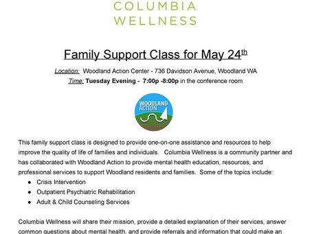 Family Support Class invites Columbia Wellness!