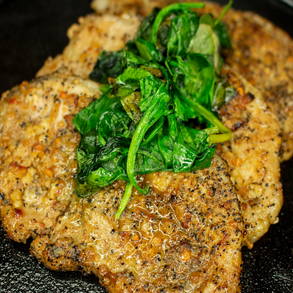 Peppered Chops & Spinach