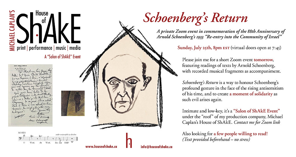 """A Commemoration of the 88th Anniversary of Arnold Schoenberg's 1933 """"Re-entry into the Community of Israel"""""""