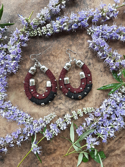 Bordeaux & Black Suede Earrings