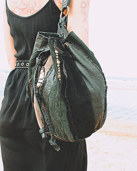Bucket Bag with Raw Quartz and Celtic knot