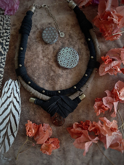 Tan and Black with Red Tigers EyeTribal Necklace