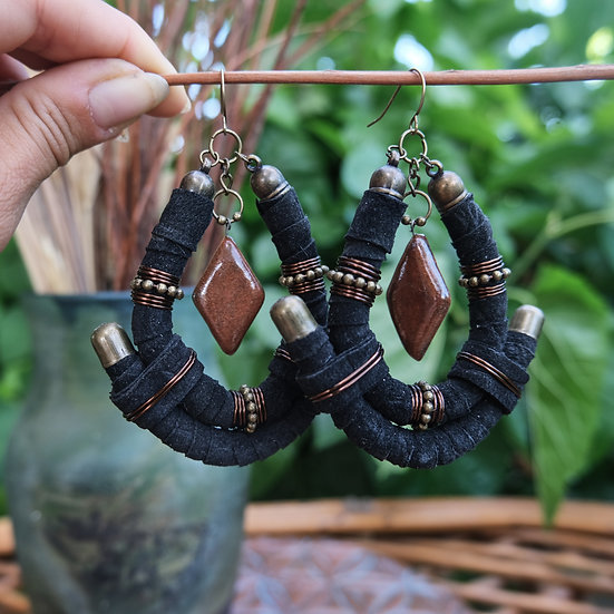 Black Leather Earrings with Ceramic
