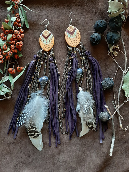 Purple Leather Tassel Earring