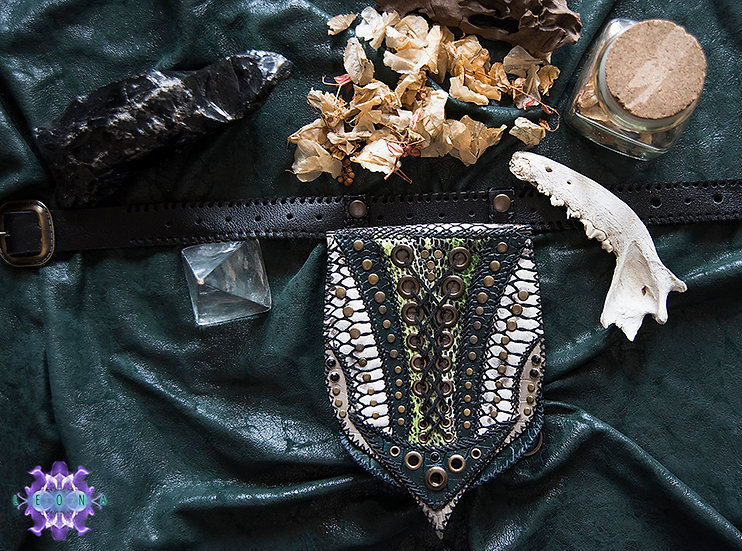 Beltbag Attachable to Leg Black and Snakeskin Pattern