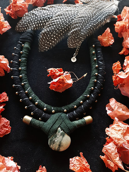Teal And Black Suede Necklace with Gemstone