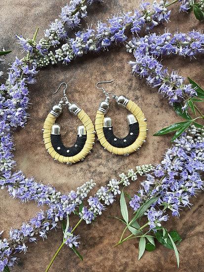 PaleYellow & Black Suede Earrings