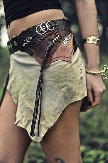 Leather Skirt with Multi Layers