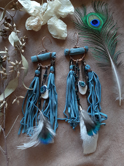 Blue Suede Hanging Earrings