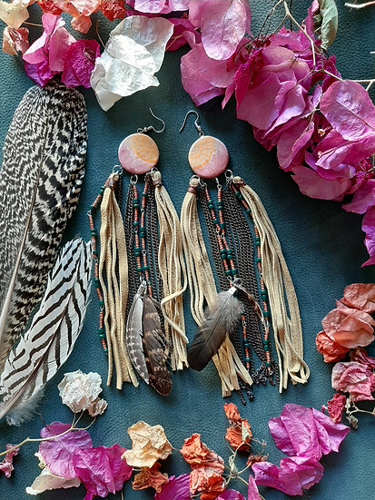 Suede Fringed Earrings with ceramic bead and feathers