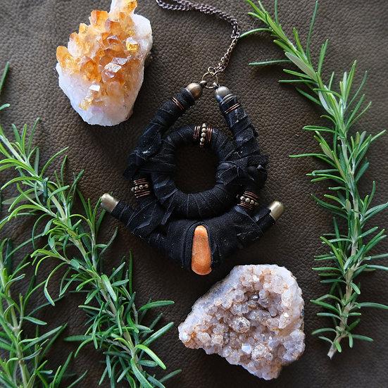 Black Leather pendant with ceramic bead