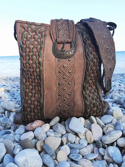 Handprinted Celtic Knot Shoulder Bag