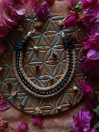 Three Cords Tribal Leather Necklace