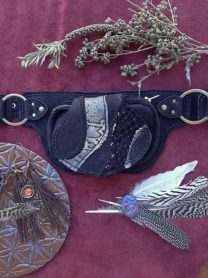 Black Leather Beltbag One Side
