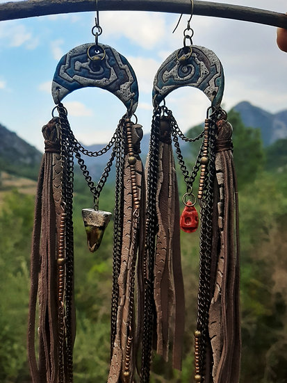 Tribal Earrings with CeramicCrescent