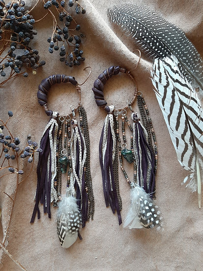 Crescent Purple Leather Earring