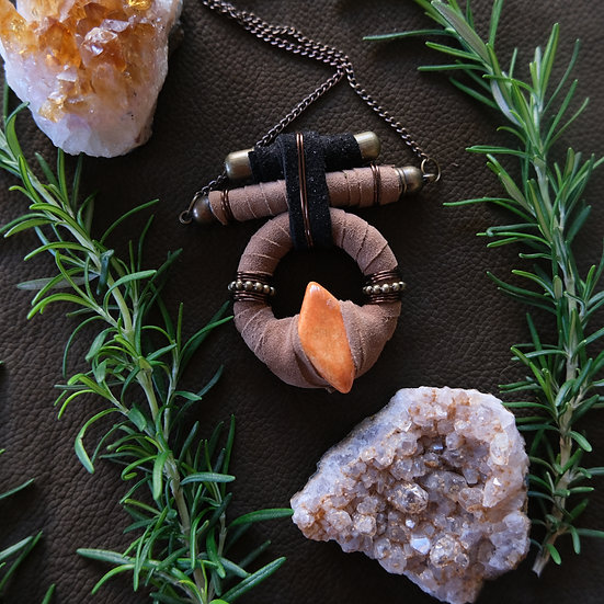 Brown and Black Pendant with ceramic bead