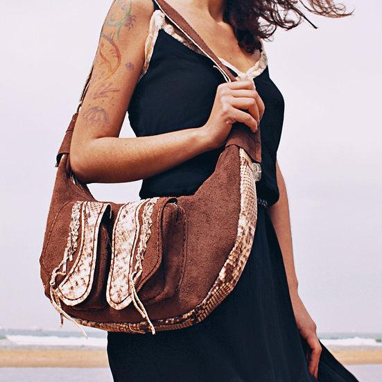 Shoulder Bag Crocodile Pattern Contrast with Brown