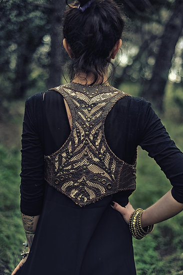 Leather Vest Laser Cut Effect