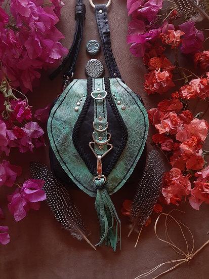 Turquoise  C ontrast Black Belt and Shoulder Bag