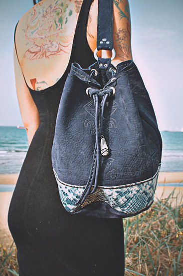 Bucket Bag with Aztec Patterns