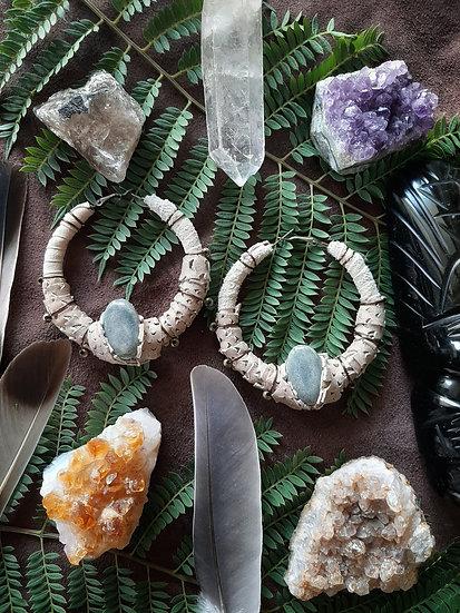 Tan Hoop Tribal Earring