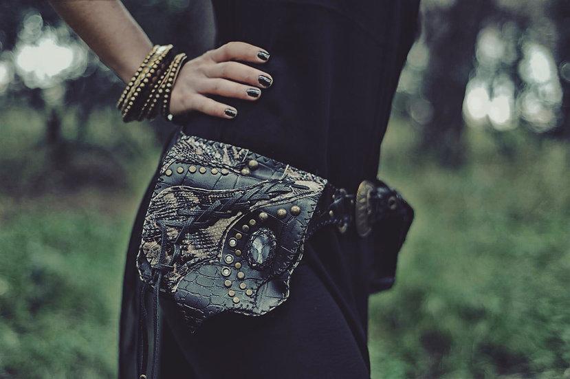 Double Beltbag Black Contrast Snakeskin