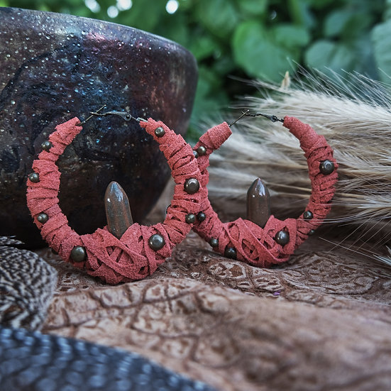 Coral Leather Earrings with Ceramic